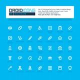 DROID-PICTOGRAMMEN Reeks van 35 vlakke pictogrammen van de lijnkunst Royalty-vrije Stock Fotografie