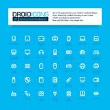 DROID-PICTOGRAMMEN Reeks van 35 vlakke pictogrammen van de lijnkunst Royalty-vrije Stock Foto's
