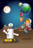 Droid robot guarding male astronout exploring planet. Illustration of a droid robot guarding male astronout exploring planet on space background Stock Images