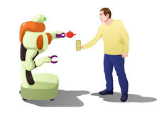 Droid robot serving drink to man Royalty Free Stock Photography
