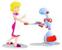 Droid robota pomaga mama ilustracji