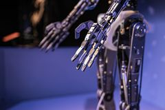 Droid robotic hand with servos stock image