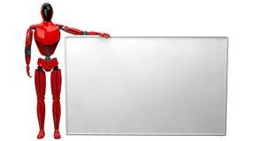 Droid rojo que sostiene el cartel blanco grande en el fondo blanco stock de ilustración