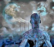 Droid. Surreal painting. Droid stands before futuristic city. Terraformed moon in the sky. Human elements were created with 3D software and are not from any Royalty Free Stock Images