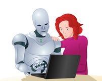 Droidrobot die vrouw het leren laptop helpen Stock Fotografie