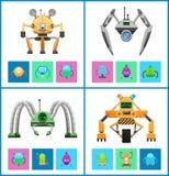 Droids Vier Vectorillustraties, Kleurrijke Affiches stock illustratie