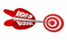 Droit sur le budget finance la cible de flèche de planification d'argent Photos stock
