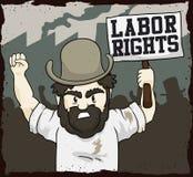 Droits de travail exigeants de travailleur dans un jour des travailleurs, illustration de vecteur Image libre de droits