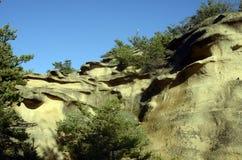 Drome-Landschaft von Sandfelsen in Frankreich Stockbild