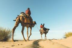 Dromedar mit Touristen in der Thar-Wüste stockfoto