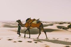 Dromedarfahrer in der Thar-Wüste, Indien, Rajasthan lizenzfreie stockfotografie