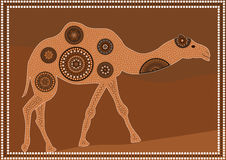 dromedary. A illustration based on aboriginal style of dot painting depicting dromedary Royalty Free Stock Photography