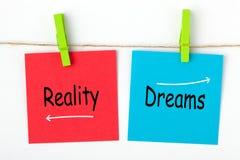 Dromen en werkelijkheid royalty-vrije stock foto's