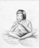 Dromen of meditatie - schets Royalty-vrije Stock Fotografie