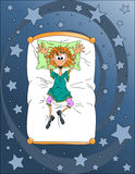 Dromen op het bed Royalty-vrije Stock Foto