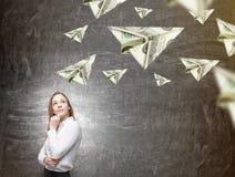 Dromen over geld stock afbeelding