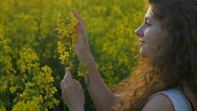 Dromend meisje die een bloem houden ontspannend en genietend van de zomer die zich op gebied van raapzaadinstallaties bevinden stock footage