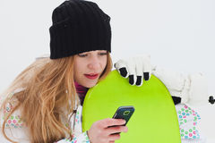 Dromend snowboard ruitermeisje royalty-vrije stock foto's