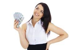 Dromende bedrijfsvrouw met in hand contant geld Royalty-vrije Stock Afbeelding