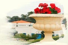 dromerig en abstract beeld van bloemen dubbel blootstellingseffect met de slagtextuur van de waterverfborstel Stock Afbeeldingen