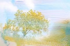 dromerig en abstract beeld van het bos dubbele blootstellingseffect met de slagtextuur van de waterverfborstel royalty-vrije illustratie