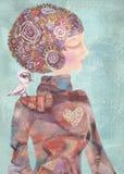 Dromerig jong meisje met een vogel op zijn schouder Sereniteitsconcept stock illustratie