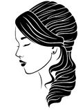 Dromerig meisje met golvend kapsel vector illustratie