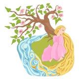 Dromerig meisje met lang haar op de rivierbank stock illustratie