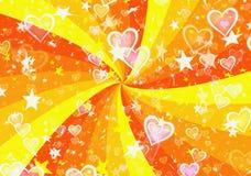 Dromerige lichte harten en sterren op de achtergronden van zonstralen Stock Afbeeldingen