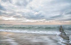 Dromerige, pastelkleur oceaan, lange blootstelling Stock Foto