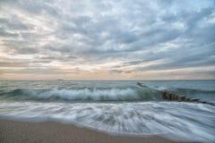 Dromerige, pastelkleur oceaan, lange blootstelling Royalty-vrije Stock Afbeeldingen