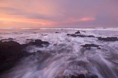 Dromerige roze zonsondergang stock foto's
