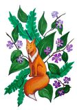 Dromerige vos op de achtergrond van bladeren en bloemen vector illustratie