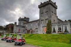 Dromoland Castle HDR. Luxury Dromoland Castle in Ireland and Golf Club cars Stock Images