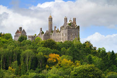 Dromore Castle on the hill. Dromore Castle in the forest in Co. Limerick, Ireland Stock Image