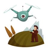 Dron with camera flying and man control it. Vector Stock Images