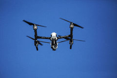 Dron. DJI Inspire 1 quadcopter fly in sky Royalty Free Stock Image