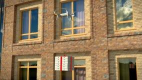 Dron entrega um pacote contra um prédio de escritórios, 3d, animação, 4K filme