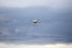 Dron flying in bad weather Stock Images