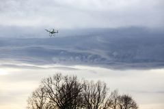Dron flying in bad weather Royalty Free Stock Image