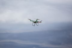 Dron flying in bad weather Stock Photos