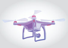 Dron, Quadrocopter Illustration. Illustration of a flying device, simple art for web and print design appealing for payment theme Stock Photo