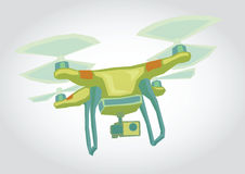 Dron, Quadrocopter Illustration. Illustration of a flying device, simple art for web and print design appealing for payment theme Royalty Free Stock Images