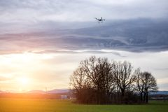 Dron watching the sunset Royalty Free Stock Photos