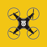 Drone with action camera icon. Aerial photography. Quadrocopter. Stock Photography
