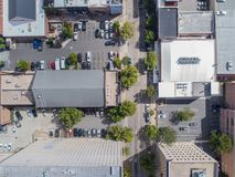 Aerial Drone Bird`s Eye View of City of Raleigh, NC Royalty Free Stock Photos