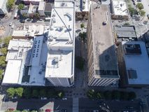 Aerial Drone Bird`s Eye View of City of Raleigh, NC Stock Images