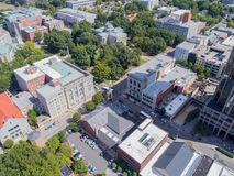 Aerial Drone Bird`s Eye View of City of Raleigh, NC Stock Image