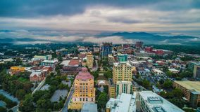 Drone Aerial of Downtown Asheville North Carolina Skyline. Drone Aerial of Downtown Asheville North Carolina NC Skyline royalty free stock image
