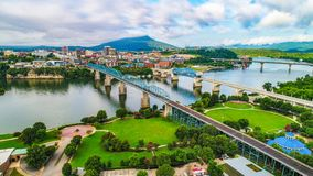 Drone Aerial of Downtown Chattanooga Tennessee Skyline stock photos